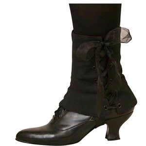 Ladies Black Boot Spats Victorian Steampunk